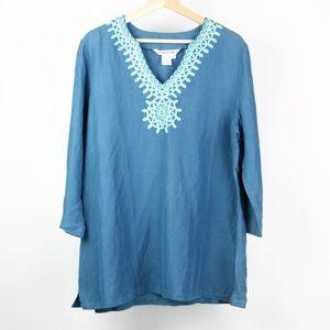 Winter Silks Womens Blouse Silk Linen Embroidered